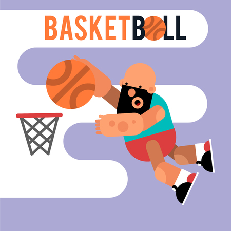 Cartoon basketball player jumping with a ball. Vector illustration of game. Character for motion design. Illustration
