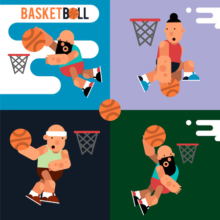 Set cartoon basketball players for motion design. Vector illustration of the play of ball game.