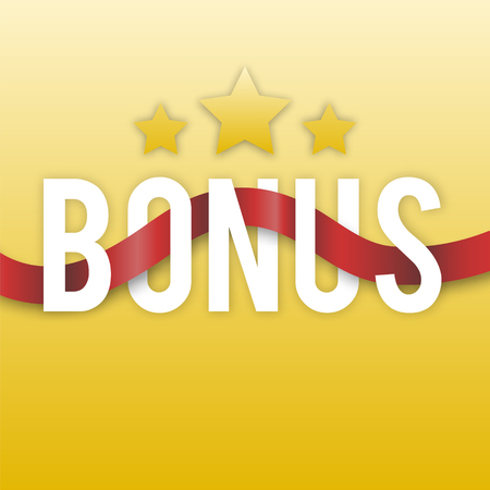Bonus with stars and red ribbon on a gold background. Icon design interface or banner. Vector illustration. Illustration