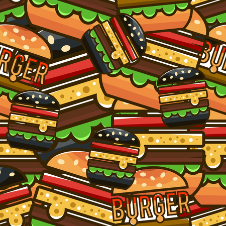 Cool seamless pattern with cartoon hamburgers. Vector illustration for design of packing fast food.