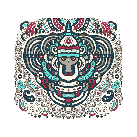 Ethnic African pattern in graphic style. Vector illustration for design fabric, coloring on a white background.