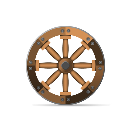 cartwheel: The wooden wheel. An ancient invention. Vector illustration isolated on white background.