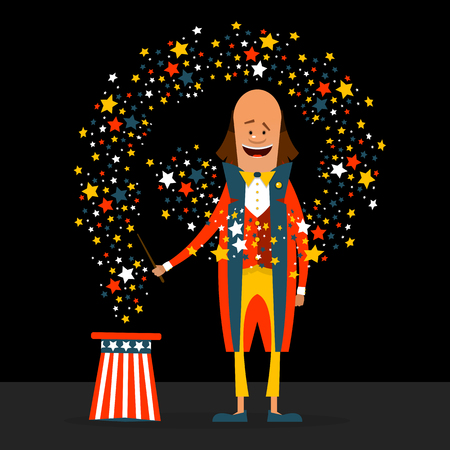 American magician with the stars. Vector illustration in a flat style on a black background.