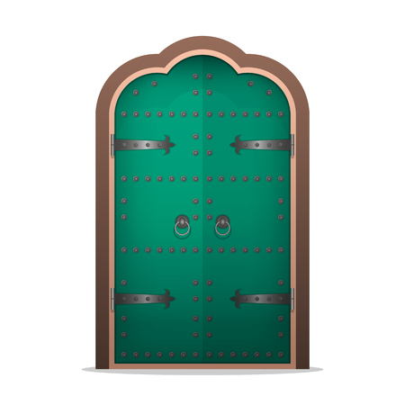 Closed the iron door in flat style. Vector illustration isolated on white background. Stock Illustratie