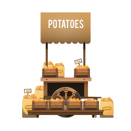 A street market. Wood cart for sale potatoes. Sale of vegetables in boxes and bags. Vector illustration, isolated on white background.