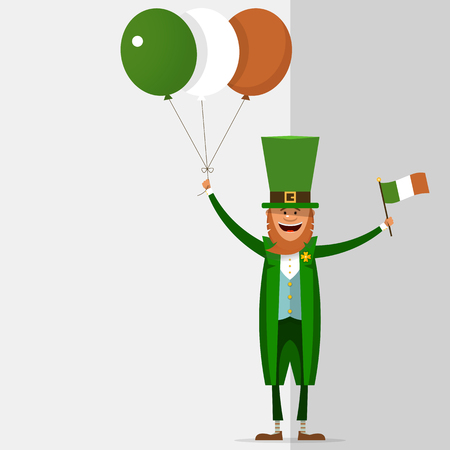 Saint Patrick holds in his hand the balls of the Irish national flag colors. Vector illustration on grey background with place for text. Illustration