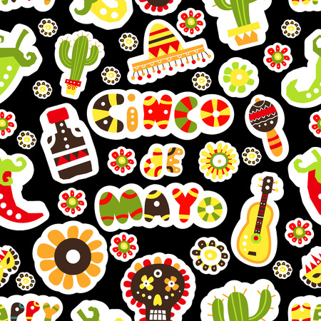 Seamless pattern. Mexican holiday Cinco de Mayo. Hand drawn packaging design or wallpaper. Vector illustration.