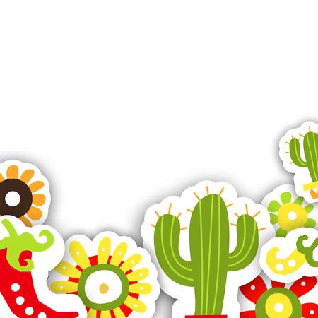Plantilla de marco para la fiesta tradicional mexicana Cinco de Mayo. Ilustración del vector para el diseño de tarjetas o invitaciones. Ilustración de vector