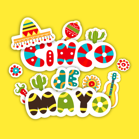types of cactus: Cinco De Mayo. Hand drawn design of the invitation to the feast. Vector illustration on yellow background.
