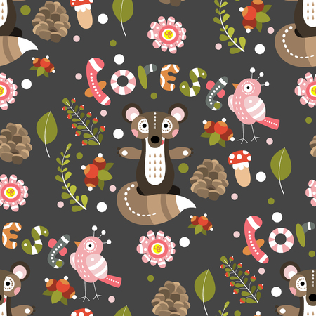 Seamless pattern on a forest theme. Vector illustration for design fabric, childrens wallpaper or poster.