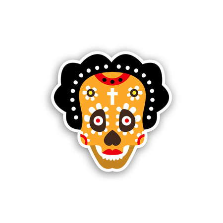 Skull for day of the dead. Design Mexican masks. Vector illustration isolated on white background.