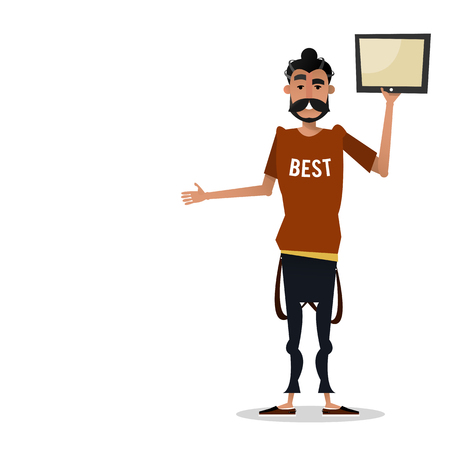A young man with a tablet in hand. Isolated vector illustration of a cartoon character on a white background.