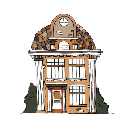 windows and doors: Hand drawn vintage house. Vector collection of sketch famous buildings.