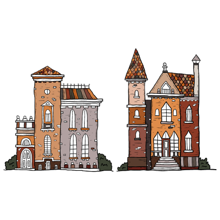 Set of hand drawn vintage homes. Vector collection of sketch famous buildings.