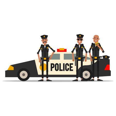security guard man: A group of policemen with a patrol car.  Vector illustration isolated on white background.