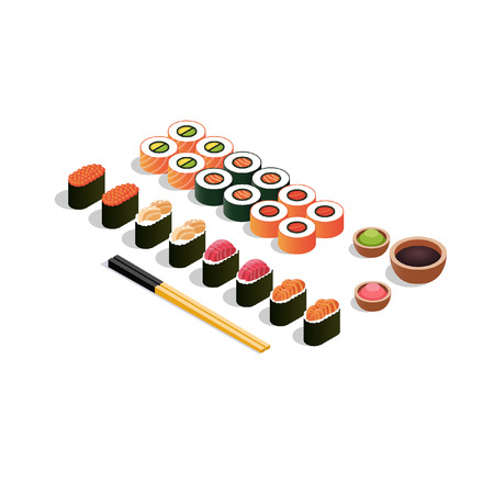 Isometric set of sushi and rolls on a wooden cutting board with japanese chopsticks, soy sauce, ginger and wasabi. Vector illustration isolated on white background.