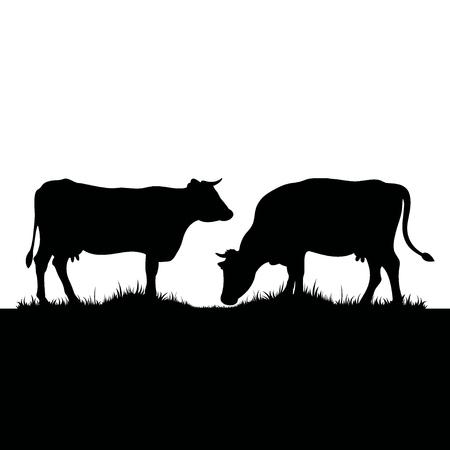 2頭の牛のベクトルシルエット。草の牧草地の農場の動物。  イラスト・ベクター素材