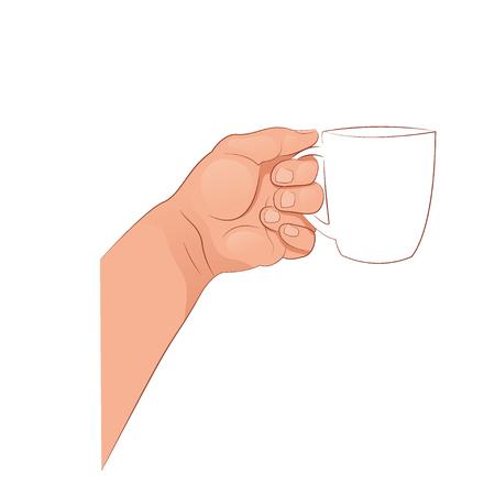 The hand holding the mug. Vector illustration isolated on white background.