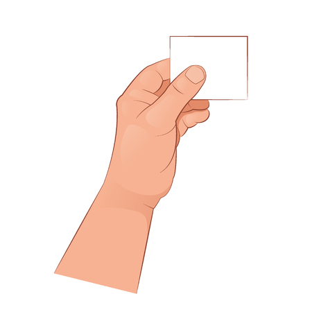The hand holds an empty card. Vector illustration isolated on white background.