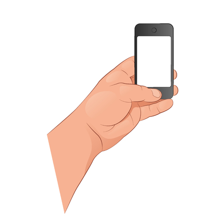 The hand holds a smartphone. Vector illustration isolated on white background.