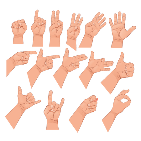 Set of hand gestures. Vector illustration isolated on white background.