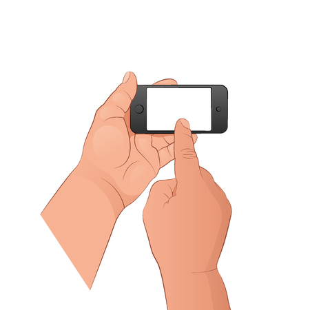 One hand holds the phone, the other turns it on with the index finger. Vector illustration isolated on white background.