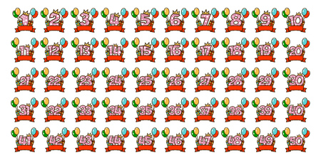 A set of numbers for the design of birthday cards. Collection of holiday stickers. Vector illustration isolated on white background. Archivio Fotografico - 95409743