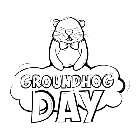 Groundhog day. American holiday logo. Rodent holding a cloud with an inscription. Vector illustration isolated on a white background in black and white.