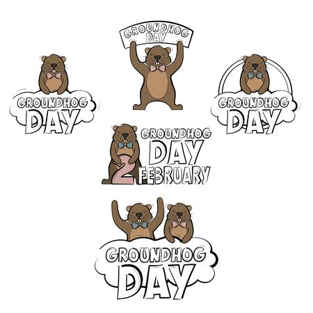 Set of logos for the Groundhog day holiday. Vector illustration isolated on a white background. Illustration