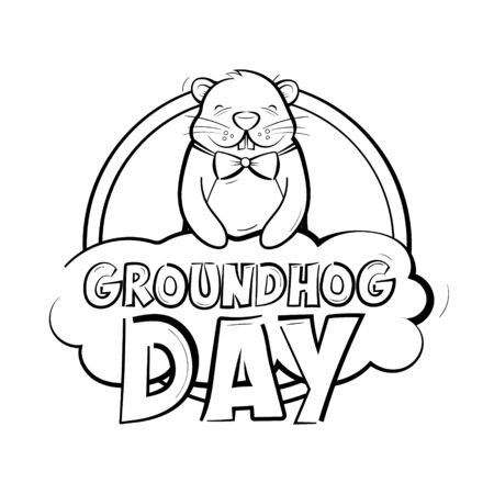 Groundhog day logo. A happy rodent holds a cloud with an inscription. American holiday. Vector illustration isolated on a white background.