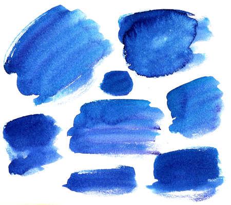 a large set of blue isolated watercolor spots of ultramarine color on a white background of different shades