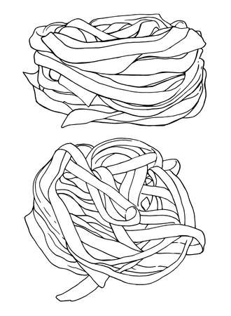 Pasta fettuccine Vector illustration - Hand drawn - Out line