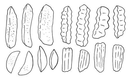 set of Wave Shape French Fries. fried potato. Drawing of knife cuts of vegetable potatoes. Carved culinary ingredient, fast food or street food. Realistic Hand-Drawn Illustration. different types of French fries hand drawn in Doodle style sketch black outline on white background isolated design elements .