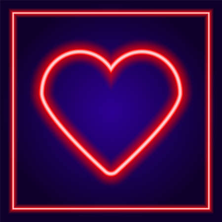 Bright red neon heart with square neon frame around . Heart sign on a dark blue background. The effect of neon glow. Vector