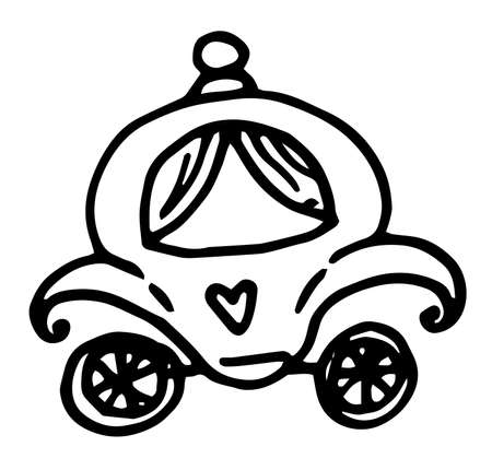 Cinderella carriage outline vector icon. Thin line black cinderella carriage icon, flat vector simple element illustration from editable fairy tale concept isolated on white background