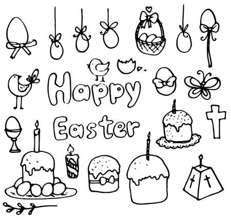 Decorative symbols of the Traditional holiday drawn by hand .The handwritten inscription of happy Easter. A set of vector isolated elements with a black outline on a white background. easter eggs cakes chicken candles butterfly willow