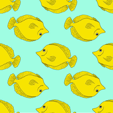 Black zebrasoma sketch set in retro style. Decorative element. Line art drawing style. Vector decorative object. Vector isolated outline drawing.Zebrasoma fish vector of aquarium fish hand-drawn isolated fish element on a turquoise background for your design template. Standard-Bild - 167127550