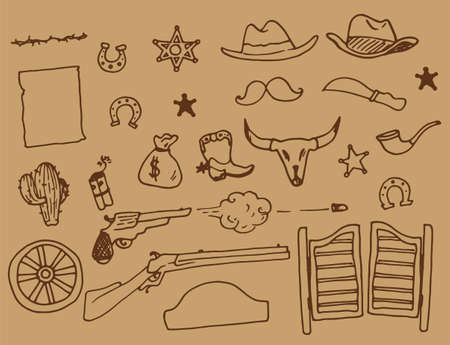 Wild West vector set. hand-drawn doodle-style vintage elements of wild Western rodeo cowboy boots with spur, pipe, shotgun, bullet, saloon doors, cactus, hat with brown line on a light brown background for a design template.