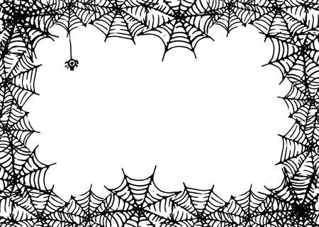Vector frame made of spider web with an empty space for text. Horizontal rectangular template made of doodle-style black spider web with a spider on a white background for a Halloween design template. A vector spider is hanging