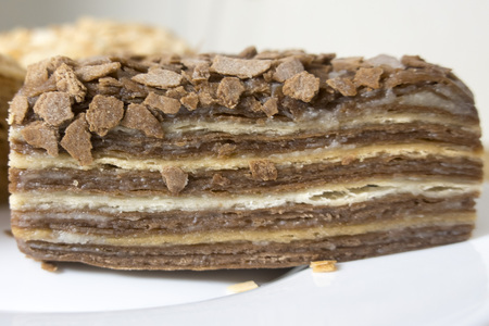 tasty chocolate and creamy cake Stock Photo