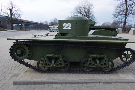 Waterfowl tank, April 16, 2018, in the museum of the breakthrough of the siege of Leningrad, Russia, Leningrad region. Editorial