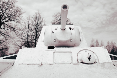 A large white tank against a background of trees without leaves and against the sky