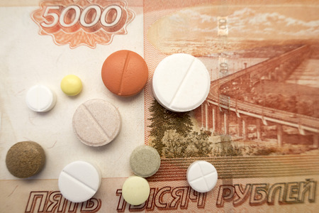 Different kinds of tablets located on five thousand Russian rubles