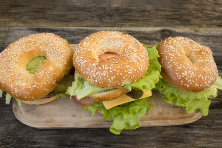 Beautiful homemade hamburger on a rustic wooden background