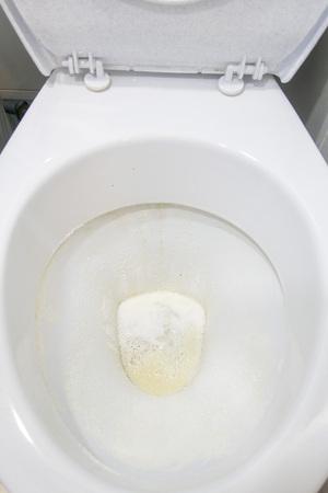 Toilet bowl sprinkled with detergent powder, close-up 版權商用圖片