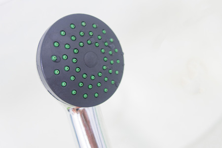 Shower without water, close-up, on a light background and save space 版權商用圖片