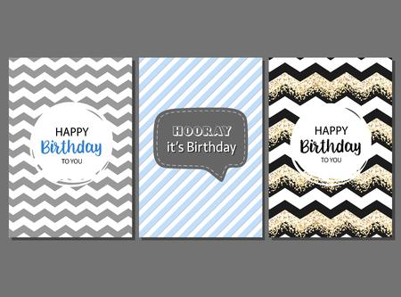 Conjunto de tarjetas de cumpleaños para celebrante masculino con rayas geométricas y patrón lindo. Ilustración de vector