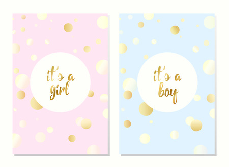 Set of vector invitation with gold bubbles for girl and boy. Baby shower posters with lettering. It's a girl, it's a boy greeting card.