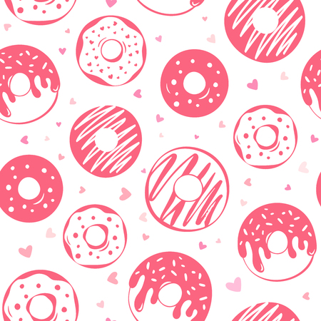 Pattern of pink glazed donuts design Иллюстрация