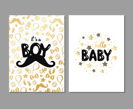 Vector set of baby shower cards. Its a boy card. Baby shower posters. Vector invitation with cute gold pattern with mustache